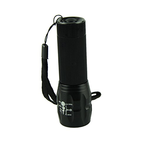 Voberry® 2000 Lumen Zoomable Led Flashlight 3-Mode Torch Lamp (Black)