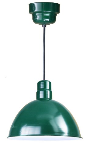 Anp Lighting D616-42-100Glfr-Gup-42-Rbhc-32Wpl-42 Forest Green Deep Bowl Rlm Spun Aluminum Deep Bowl Industrial Barn Light With Cord Outdoor Pendant Mount Hi Bay/Low Bay