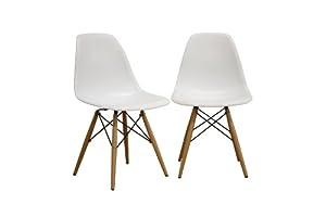 Baxton Studio LAC Plastic Side Chair Set of 2