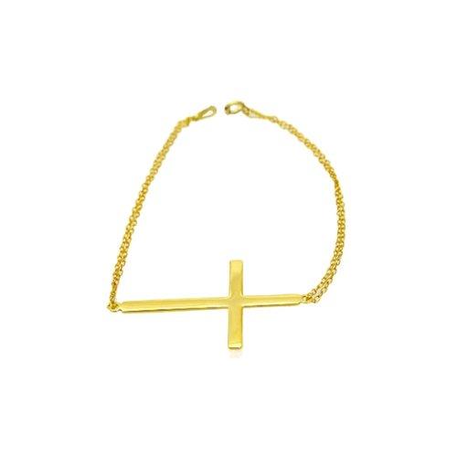 apop nyc 14k Gold Vermeil Sideways Cross Bracelet 7 inch - 1.50 inch Cross