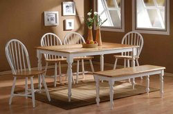 Farmhouse Style Wood Dining Table (White / Natural) (30