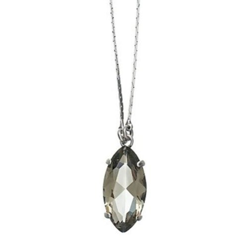 Pilgrim Light Grey Crystal Pendant Necklace Silver Plated