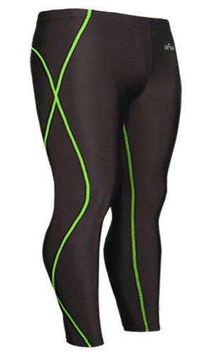 Emfraa Mens Womens Skin Tights Compression Base Layer Leggings Pants Black S ~ 2XL