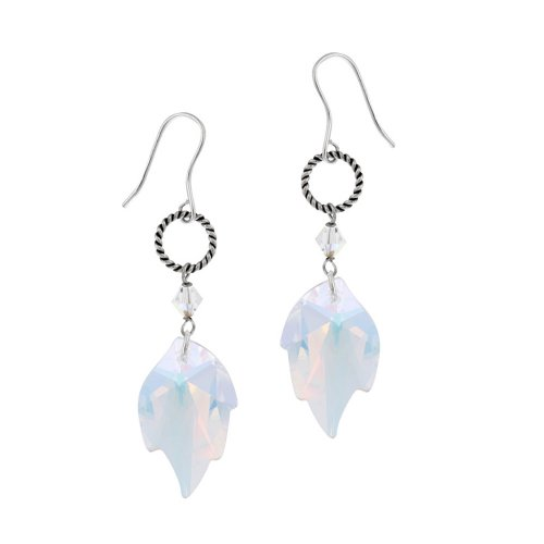 Sterling Silver Leaf Drop Earrings with Swarovski Elements