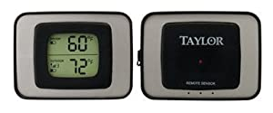 Taylor 1524 Wireless Digital Indoor & Outdoor Thermometer, Gray