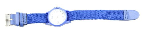 Geneva Ladies Wrist Watch With Small Round Face & Threaded Adjustable Band Blue