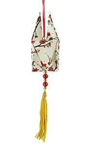 "Asian Fusion White Glitter Origami Dove with Gold Tassel Christmas Ornament 7.5"""
