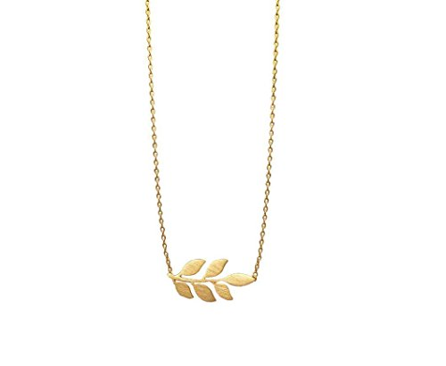 Gold Leaf Olive Branch Charm Necklace | Favorite Minimalist, Delicate Jewelry