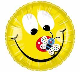 "Smile Face w/ Butterfly Mylar Balloon 20"" Happy Face - 1"
