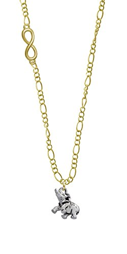 Elephant Gold Infinity Figaro Necklace