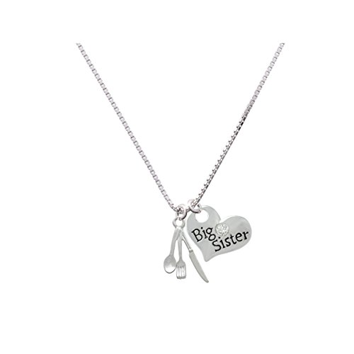 Fork Knife And Spoon - Big Sister Heart Necklace