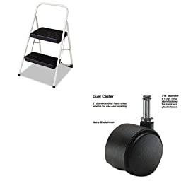 KITCSC11135CLGG1MAS64426 - Value Kit - Master Caster Duet Twin Wheels (MAS64426) and Cosco 2-Step Folding Steel Step Stool (CSC11135CLGG1)
