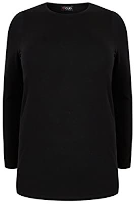 Yoursclothing Plus Size Womens Long Sleeve Soft Touch Jersey Top