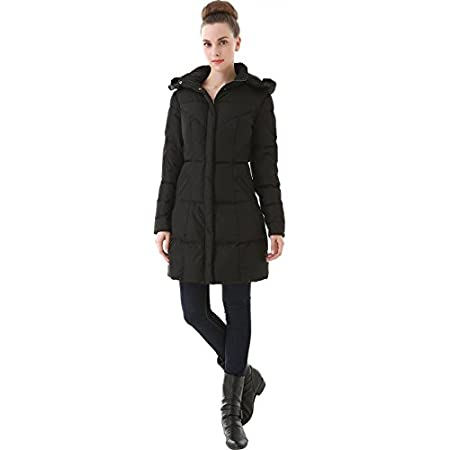 Contoured seams create a fitted silhouette in a warm quilted down coat topped with a removable hood trimmed in a faux fur.