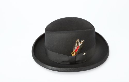 [New Mens 100% Wool Black Godfather Style Homburg Fedora Hat] (A Clockwork Orange Alex Costume)