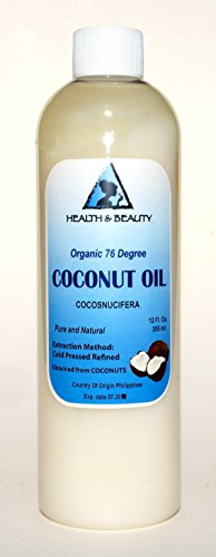 Coconut Oil 76 Degree Organic Carrier 100% Pure Cold Pressed 12 Oz