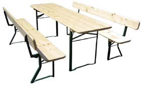 Beer Tent Suite / Garden Furniture Table Width 80 cm / Length 220 cm and Benches with Back Rest Very Good Brewery Quality