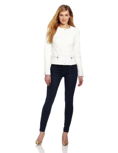 Jones New York Women's Mixed Media Jacket, Jet White, 14 at Amazon.com