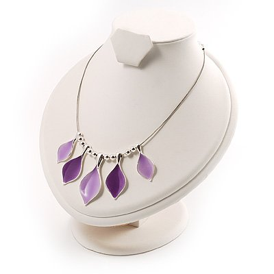 Lilac Enamel Leaf Choker Necklace