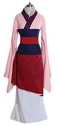 [Women's Halloween Deluxe 1:1 Mulan Costume Outfit Princess Fancy Dress (M)] (Adult Mulan Costumes)
