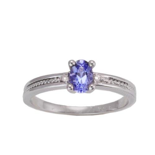 10K White Gold Tanzanite and Diamond Milgrain Solitaire Ring, Size 8