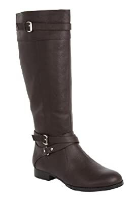 Comfortview Women's Plus Size Janis Leather Wide Calf Boot Dark Brown,7 M