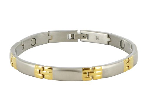 7 MM Stainless Steel Two Tone Magnetic Bracelet 8″ Long