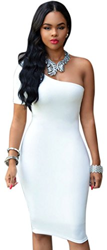 TomYork One Shoulder Bodycon Knee Length Dress(White)