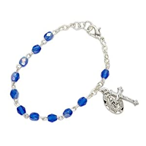 3mm September Sapphire Birthstone Rosary Beads Bracelet with Miraculous and Crucifix Charms Christian Jewelry Religious Bracelets Gift Boxed