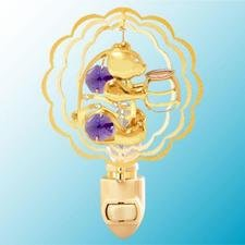 Bear with Honey Pot in Ruffled Circles Night Light..... With Purple Swarovski Austrian Crystals