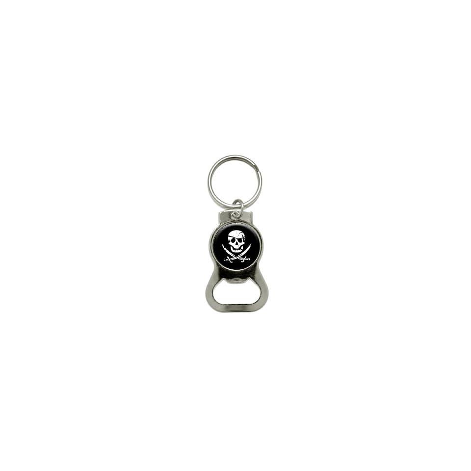 Pirate Skull Crossed Swords   Bottle Cap Opener Keychain Ring