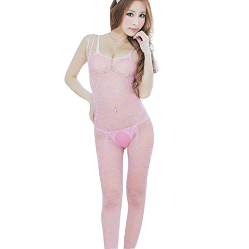 YIWULA Womens Floral Open Crotch Mesh Bodystockings Bodysuits (Pink) (Pink Spandex Sheer Stockings)
