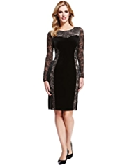 M&S Collection Floral Lace Velour Panel Dress