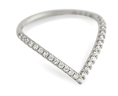 Rhodium Plated V-Shaped Eternity Stackable Band Ring, Size 6