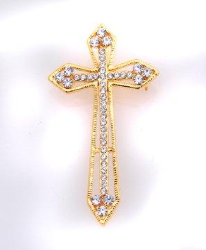 Rhinestone Embedded Cross Pin Brooch