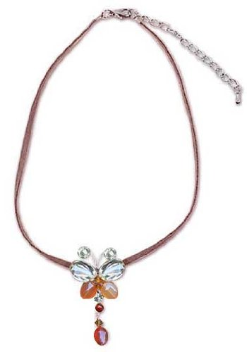 Carnelian and Citrine Butterfly Pendant Necklace, 'Flight' 17