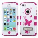 MyBat iPhone 5C TUFF Hybrid Phone Protector Cover with Stand - Retail Packaging - Butterfly Dancing/Hot Pink
