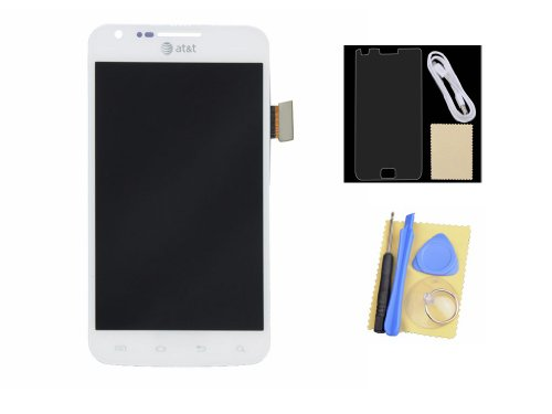 Lcd Display Touch Screen Digitizer Assembly +Protector+Usb Cable For Samsung Galaxy S2 Skyrocket I727 At&T White Grade B+