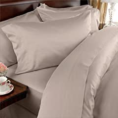 "Elegance Linen ® 1500 Thread Count Egyptian Quality WRINKLE RESISTANT ULTRA SOFT LUXURIOUS 4 pcs Bed Sheet Set, Deep Pocket Up to 16"" - Many Size and Colors , KING , Beige"