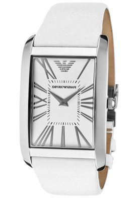 Emporio Armani Men's AR2045 Stainless Steel Case White Leather Strap White Dial Watch