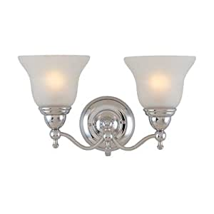 Lite Source LS-16242C/FRO Bella II 2-Lite Wall Sconce Lite, Chrome with Frost Glass Shade