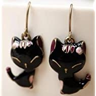 Adorable Black Cat Alloy Dangle Earrings