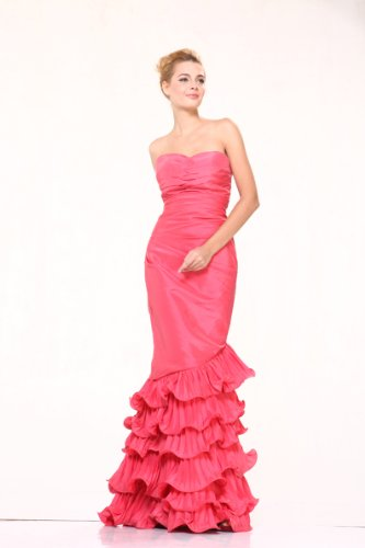 #5242 Strapless Mermaid Ruffle Skirt Pageant Evening Prom Dress