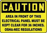 """Accuform Signs(R) 10"""" X 14"""" Yellow And Black Plastic Value Electrical Safety Sign """"Caution Area In Front Of This Electrical Panel Must Be Kept Clear For 36 Inches. Osha-Nec Regulations"""""""