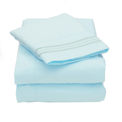 1500 Series Egyptian Quality 3 Piece Bed Sheet Set - Twin, Light Blue