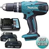 Makita HP457D 18v Li-Ion Cordless Combi Hammer Drill with 2 x Makita BL1813G Batteries , 1 x Makita DC18WA Charger and Canvas Carry Bag with Makita D-30651 11 Piece Magnetic Bit Set (RRP £12.99) Fulfilled by Amazon