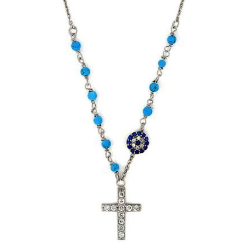 Sterling Silver Turquoise Cubic Zirconia Rosary Cross Evil Eye Necklace w/ Adjustable Chain (16