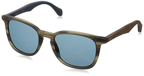 BOSS-by-Hugo-Boss-Mens-B0843s-Square-Sunglasses-Horn-Brown-BlueBlue-52-mm