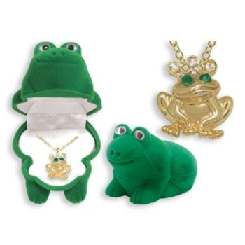 Frog Crystal Necklace in Green Frog Gift Box  Frog Necklace