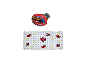 Disney Bathtub Mat and Inflatable Faucet Cover, Pixar Cars